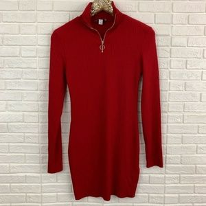 Topshop jersey ribbed stretch red knit dress zip